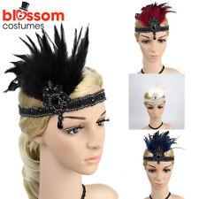 K338 1920s Headband Vintage Bridal Gatsby 20s Chicago Flapper Feather Headpiece