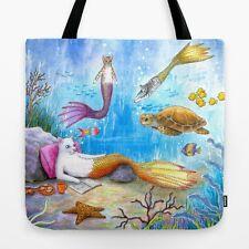 Tote bag All over print Cat Mermaid 31 turtle fish fantasy art painting L.Dumas
