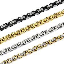 5MM Collar Acero Oro Juego Collar Cadena Bizantino Pulsera de Plata Nuevo