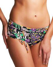 Freya Adelphi Bikini Boy Short Brief Bottoms 3455 Black Purple Floral V Sizes