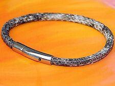 Ladies 4mm Grey snake-print leather & stainless steel bracelet by Lyme Bay Art