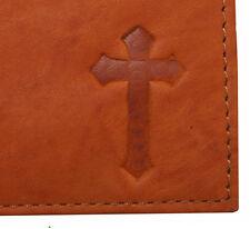 Mens Genuine Leather Christian Jesus Cross Ichthys Symbol Bifold Trifold Wallets