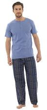 Para Hombre Larga Caliente cheque Pijama Conjunto Con Detalle De Botones T-Shirt