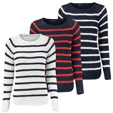 ONLY Damen Strickpullover Streifen Strick Bändchengarn Maritim Pullover Pulli