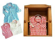 Trachtenhemd mit  Krempelarm + Stick Hemd Freizeithemd für Kinder rot/weiß