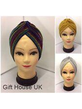 con Purpurina Brillo Mujer Elástico indio Turbante plisado Pañuelo de cabeza