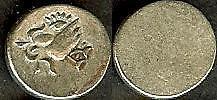1841-64 Cambodia  Silverplated 2 pe , Bird