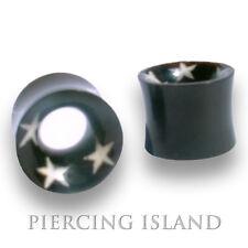 30mm BLACK HORN Flesh Tunnel Tube Ear Plug Schwarz Ohr Piercing 107 8mm