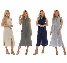 a1546110cad1 Linen Striped Sleeveless Dresses Midi for Women
