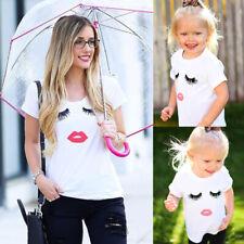 Fashion Mom Girls Daughters Casual Eyelash Pink Lip Printed Tee Shirt Tops Cozy