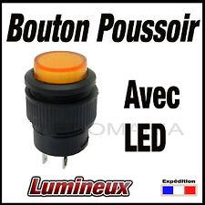 987O# bouton poussoir orange avec voyant LED -- OFF - (ON)  -- de 1 à 10 pcs