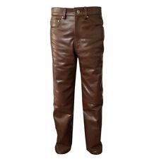 Hommes 501 Style Jeans Marron Cuir Vachette Lisse et Sexy Pantalon Motards