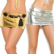 Lamé Micro Mini Skirt Metallic Shiny Dance Clubwear Costume Lame 2474