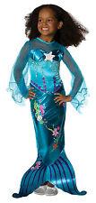 Meerjungfrau Kostüm Blau Magical Mermaid Kinder Kleid Mädchen Karneval , (K)