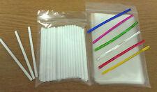 "50 X 114mm Plástico palillo del LOLLIPOP Kit Cake Pop 3 ""x 5 pulgadas Bolsas Twist Lazos"