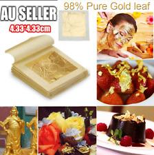 Pure 24k Gold Leaf Sheet Book Food Grade Edible Decorating Art Craft 4.3*4.3cm