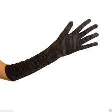 Ladies Long  BLACK Ruched/Gathered Satin Elbow Length Full Finger Gloves