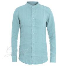 Camicia Uomo Tinta Unita Slim Azzurro Collo Coreano GIOSAL