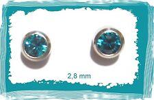 Medizinische OHRSTECKER Zirkonia SILBER Türkis-Blau rund 2,8 mm