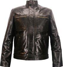 Unicornio Para Hombre Corto de Moda Abrigo Chaqueta De Cuero Real - - Esmalte marrón #P4