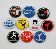 """10 KARATE Buttons Pinbacks Badges 1"""" Black Belt Sport"""