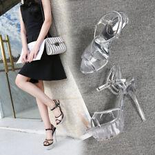 Crystal Sandals Platform Jelly Heels Clear Black Crossdresser Women Shoes Plus