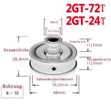 2GT 72/24 Zähne Riemenscheibe GT2 Doppel Zahnrad für Zahnriemen Breite 6/10mm