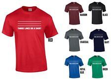 Tres líneas en una camiseta Camisa B-Divertido Broma XS-5XL Inglaterra 3 Leones