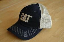 Caterpillar CAT Navy Blue Front & Cream Mesh Back Hat / Cap