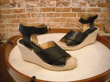 Kensie Narcisa Black Leather Espadrille Wedge Sandal NEW