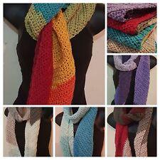 Handmade Crochet Diagonal Asymmetrical Multi Wool/Acrylic Scarf - 5 Colors