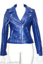 Brando Classic Ladies Blue Biker Style Motorcycle Cruiser Hide Leather Jacket