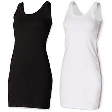 SKINNIFIT WOMENS SLEEVELESS TANK DRESS BLACK WHITE SK104