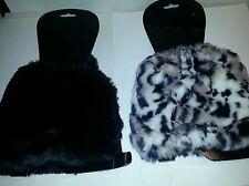 Womens Attention Brand Black or Leopard Faux Fur Shorty Leg Warmers OSFM