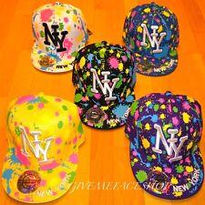 NY PAINT SPLASH FLAT PEAK CAPS, XS FITTED BASEBALL HATS ,KIDS, ADULTS HIP HOP