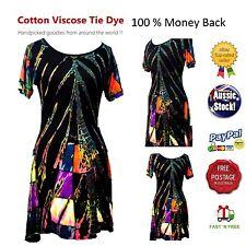 Festive Summer Tie Dye dress Boho Hippy Cotton Viscose Size 8-14 Brand New