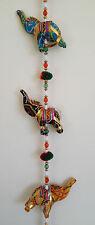 Indian Handicrafts Lucky Five  Elephants Hand Made Wall Door Hanging Puppet Gift