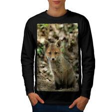 Animal lindo Fox Foto Hombre Manga Larga wellcoda Camiseta Nuevo  