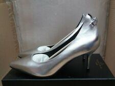 "Emma Hyacinth London ""Marry"" Ladies Leather Smart Shoes - Metallic Silver - UK 5"