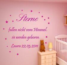 Wandtattoo Kinderzimmer +Sterne fallen nicht vom Himmel+Wunschnamen,Datum Baby
