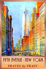 5th Avenue New York Empire State Building Train Travel Poster Art Print 258