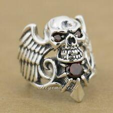 925 Sterling Silver Red Cz Devil Wing Skull Mens Biker Ring 9M013D Us 7.5~13.5