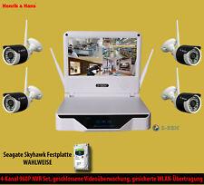 Kabellos Videoüberwachung Set NVR 4x 960P Überwachungskamera Monitor + 1 / 2 TB