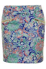 Women's Floral Paisley Print Gold Zip Back Ladies A-Line Party Mini Short Skirt