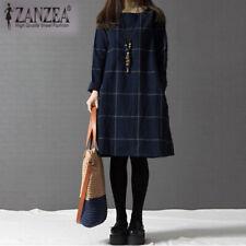 ZANZEA UK 8-22 Womens Vintage Check Plaid Mini Short Dress Casual Party Dresses