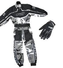 Kids Wulfsport Wulf MX Quad Motocross Grey Overall And Gloves Black Camo Set #O6