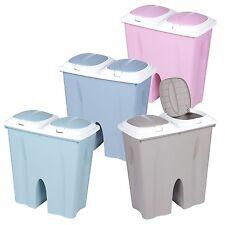 Double Recycling Bin Duo Rubbish Plastic Cardboard Disposal 2 x 25 Litre