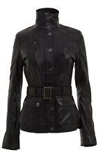 Ladies BLACK Retro Biker Style Designer Real Leather Mid Length Belted Jacket