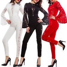 Overall donna elegante maniche lunghe campana pizzo pantaloni sexy GI-80439