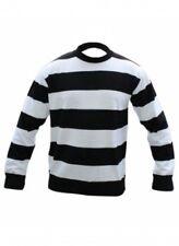 Kids Boys Girls Black & White Stripe Jumper Halloween Fancy Dress Party Festive